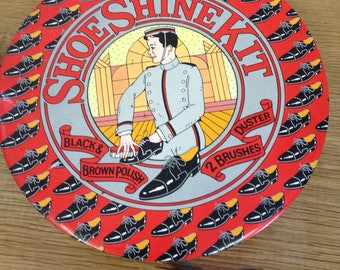 Vintage Shoe Shine Tin  Complete With Brushes & In Good Used Condition.