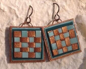 copper*aqua *woven*paper earrings by paula