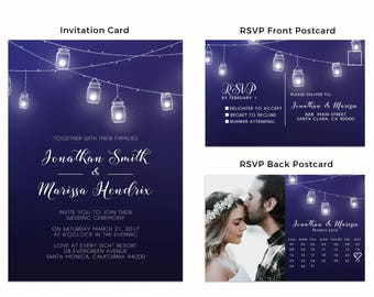 Rustic Chinese Wedding Invitation Cards with RSVP postcards Mason Jars, Wedding Invitations Cards, Cheap Wedding Invitations w32