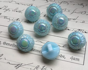 8 smal Aurora Borealis Glass buttons-8 dazzling glass buttons-eye-catching-old collectors/glass knobs (169)