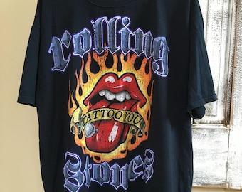 Vintage Rolling Stones Tattoo You tounge t-shirt 2XL Liquid Blue