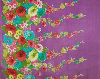 "Sewing Designer Handcrafted Fabric, Floral Print, Dressmaking Fabric, 43"" Inch Cotton Fabric By The Yard ZBC9112A"