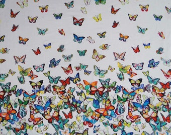 """Multicolor Butterfly Print, White Fabric, Home Accessories, Quilt Fabric, 45"""" Inch Cotton Fabric By The Yard ZBC7413A"""