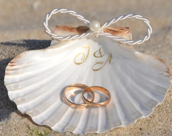 Seashell Ring Holder Gold Shell Ring Box Beach Wedding