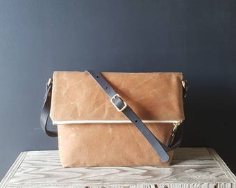 Small Waxed Canvas Foldover - Brown