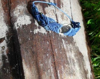 Handmade Micro Macrame Stuning Blue Bracelet With Beads And Silver Ring