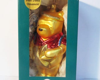 Classic Winnie the Pooh Angel Blown Glass Christmas Ornament 1998 Midwest Cannon Falls