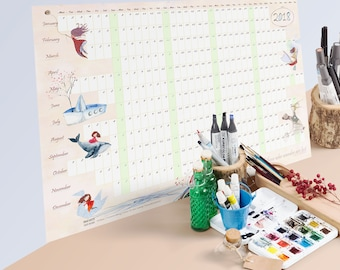 large wall calendar, one-page calendar, 2018 art calendar, yearly wall calendar, 2018 wall calendar, poster calendar, homeschool calendar