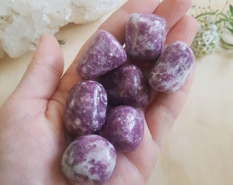 Lepidolite Tumbled Stone // ONE // Large Polished Tumbles // Healing Crystals & Minerals