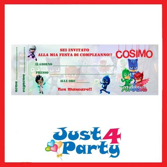 Inviti festa pj masks i super pigiamini compleanno - Stampabili per bambini gratis ...