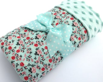Baby Stroller Blanket  -Mint Green & Coral Floral Baby Blanket - Baby Girl Blanket - Cotton Flannel Blanket - Mint Green Minky