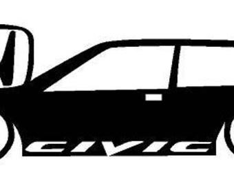 Honda Civic Decal Etsy - Honda civic decal stickers
