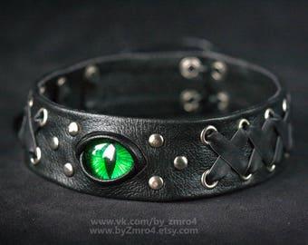 Choker necklace with eye. Fantasy Collar. Blue eye. Dragon eye. Leather woman collar choker. Fantasy choker