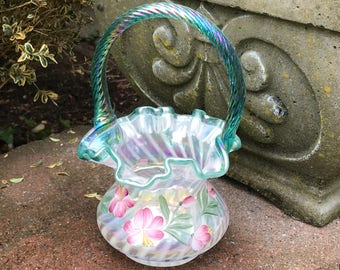 Vintage Fenton Basket Spiral Optic Painted Family Signed 1990