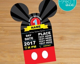 Mickey Mouse Birthday Invitation Dots and Stripes Printable Birthday Party Decoration