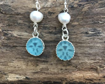 Scottish Sea Glass sterling silver bezel set  earrings with freshwater pearls .