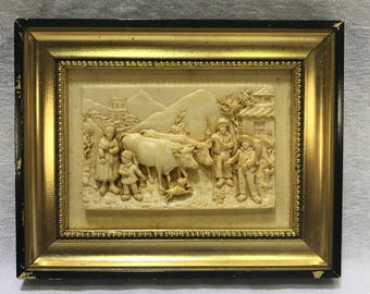 Faux Carved Ivory Dutch Mountainside Village Family