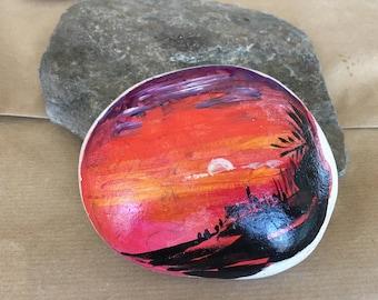 Sun set - Pebble art