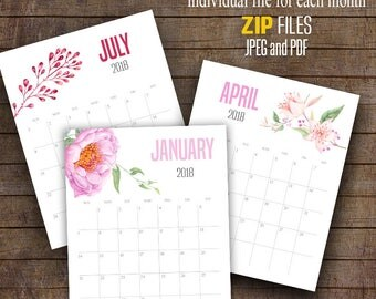 "2017 and 2018 Printable Wall Calendar, Watercolor flowers calendar, Monthly Printable Calendar, Printable Calendar, 8"" x 10"" files C102"