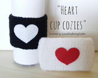 Valentines cup cozies, valentines gift, tumbler cup cozy, mugs cup cozies, heart crochet cozies, heart cup cozies, valentines gift for her