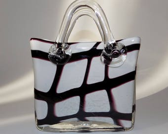 Vintage Vicenza Collection Art Glass Handbag / Purse / Vase