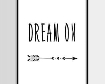 Arrows, Dream on, Scandinavian, Kids print, Nursery, Kids room, Printable Wall Art, Childrens print, Digital print, Instant Download 8x10
