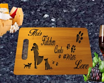 Cute Couple with Dogs Bamboo Cutting Board