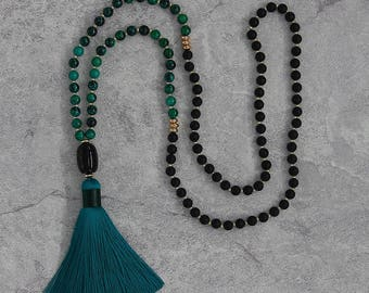 Black matt agate necklace long tassel agate pendent necklace tassel necklace green beads necklace Chrysocolla beads necklace NL-052