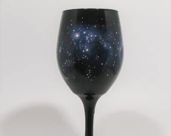 Galaxy Wine Glass -  Hand Painted Wine Glass - Blue Nebula