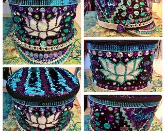 Burning Man Hat / SALE / Marching Band Hat / Majorette Hat with Lotus Flower and Reversible Sequin Fabric