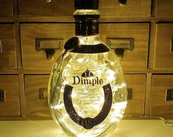 Dimple 15 Years Old Scotch Whisky Whiskey Upcycled Bottle LED Lamp Light by JayEngrave