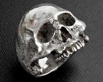 Silver Skull Ring,Large Size, Solid Silver Skull Ring