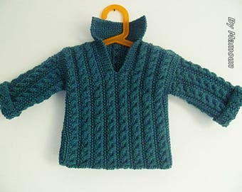 Green jacket baby (9-12 months) knitted handmade sweater with cables