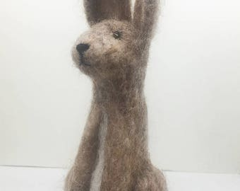 Needle Felted Hare, Hare, Charlie the Hare, OOAK,