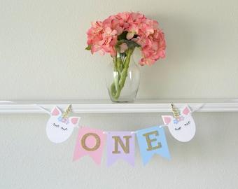 Unicorn First Birthday Decor - First Birthday Unicorn Banner - Unicorn Birthday - Unicorn First Birthday Party Decoration