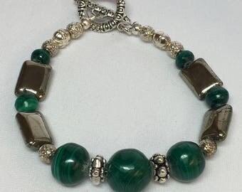 Deep Green Malachite and Pyrite Bracelet