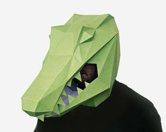Alligator Mask, Crocodile Mask, Paper Mask, Animal Mask, DIY printable Animal Head, Instant Pdf download, Polygon Masks, Printable Mask
