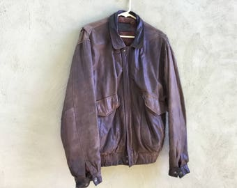 Well-Worn Men's Leather Bomber Jacket from 1990s