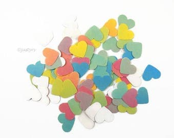 """100 Wedding paper Heart confetti 1"""", table scatters, Rainbow wedding table decor, cardmaking, heart scatters,  Baby shower, bridal shower"""