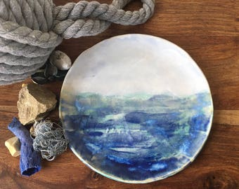 Handmade Side Plate | Ceramic Side Plate | Cake Plate | Blue and Green Plate | Handmade Plate | 'Seascape Collection' Plate