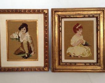 Ornately Framed Handmade Needlepoint Set of Boy and Girl