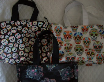 Sugar Skulls,Multi color Skulls, insulated Lunch bags,in 3 different prints to chose from,Great for Children or Adults.