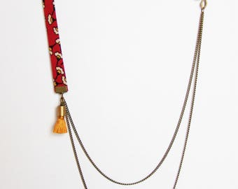 Liberty necklace double chain red orange and yellow tones and mustard yellow Pompom