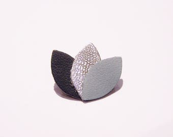 Brooch leather dark gray, silver and blue gray