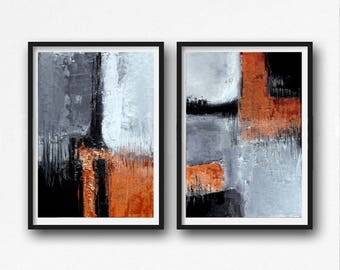 Black and orange Abstract Art, Modern Art Prints, Set of Two  industrial Paintings,  Abstract, Printable  Art, gray and orange, diptych