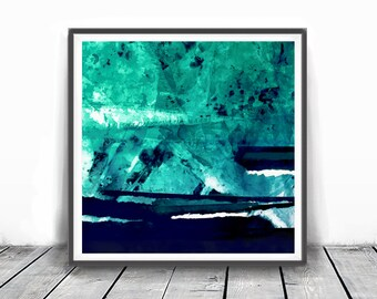 Teal Abstract Art, Teal Print, Teal Wall Art, Sea Green Printable Art, Teal Watercolor ,Abstract Watercolor Print, navy blue and turqoise