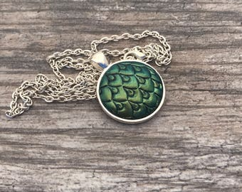 Green Dragon Scales Pendant. Mermaid Scales Necklace. Magic. Fantasy. Dragon Skin. Dragon Egg. Gifts for Her. Mythological Creatures.