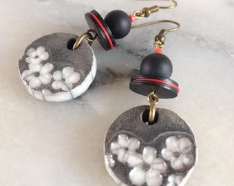 Earrings Bohemian earrings, short, black and white ceramic Asian style, beads black onyx, red and black caps, unique piece.