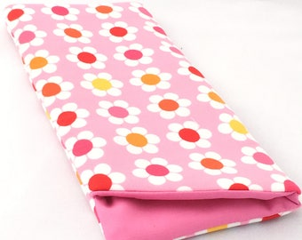 Sunglasses/ eyrglasses case, handmade soft cotton case, pink, white flowers