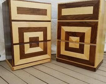 Maple and walnut nightstand